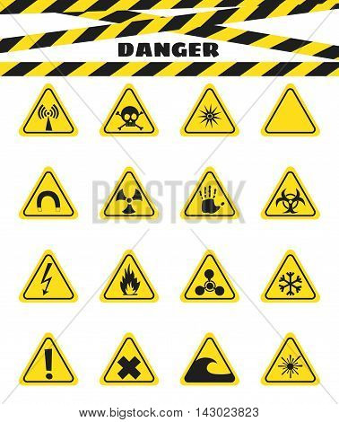Signs warning of the danger from explosives and flammable liquids the presence of magnetic field and radiation. Dangerous. Vector illustration