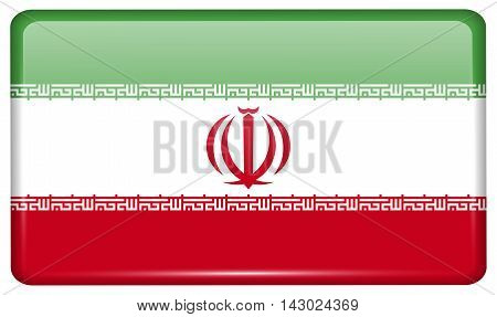 Flags Iran In The Form Of A Magnet On Refrigerator With Reflections Light. Vector