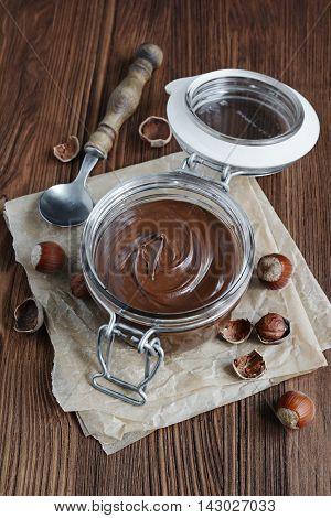Chocolate Hazelnut Spread In A Glass Jar
