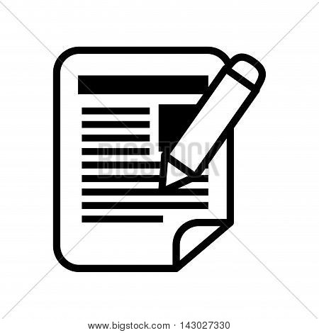 notepaper pen pencil notes document file list vector illustration isolated