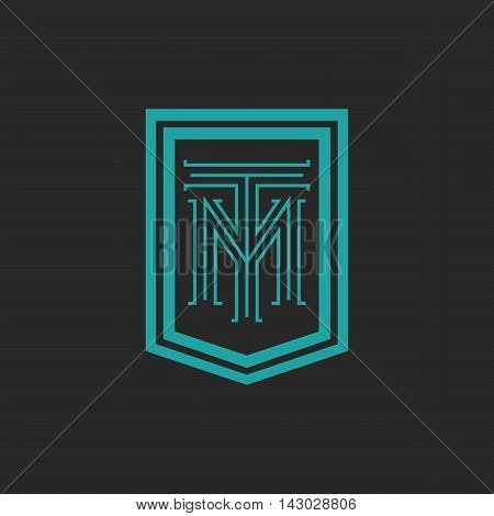 Monogram Hipster Frame Form Shield, Crest Blue And Black Combination Letter Tm Logo, T M Initials Mo