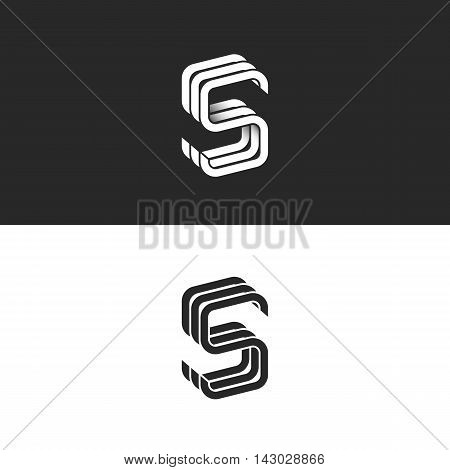 S Logo Monogram Mockup, Isometric Geometric Shape Linked Letters Sss Emblem Wedding Card Initial, Bl