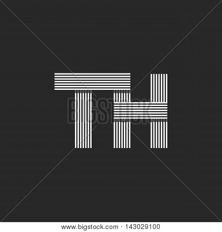 Logo Th Letters Initials, Combination Letters T And H Together, Business Card Monogram Emblem Mockup