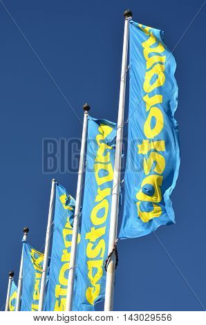 CIRCA AUGUST 2016 - GDANSK: sign of Castorama against blue sky. Castorama is British retailer of DIY and home improvement tools and supplies. In 1998 it  became subsidiary of Kingfisher plc.