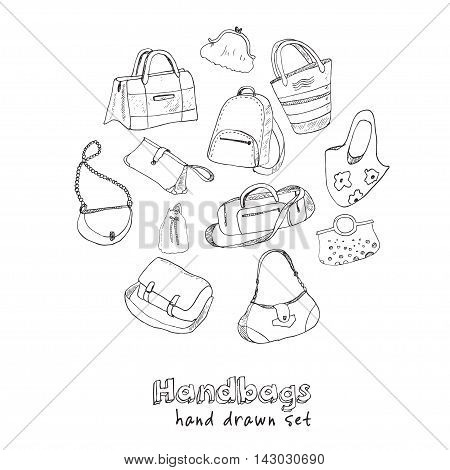 Hand drawn doodle sketch illustration set of bags - baggage for travel, suitcase, case, handbag Vector