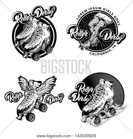 Roller derby monochrome emblems with calligraphic lettering and quad skates with laced boots isolated vector illustration