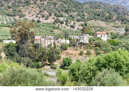 The mountain village Laloumas in the southern foothills of the IDA range in south-central Crete, Greece. An old, abandoned town, where only goats and sheeps and their Shepherds lives