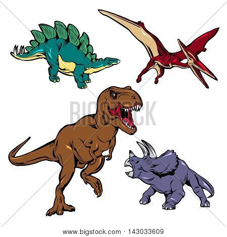 Dinosaurs colored icons set with brown t-rex red pterodactyl green stegosaurus lilac triceratops isolated vector illustration