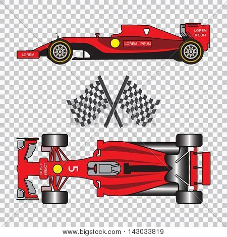 Red racing car with sport flags isolated on checkered background. Top view and side view. Vector illustration