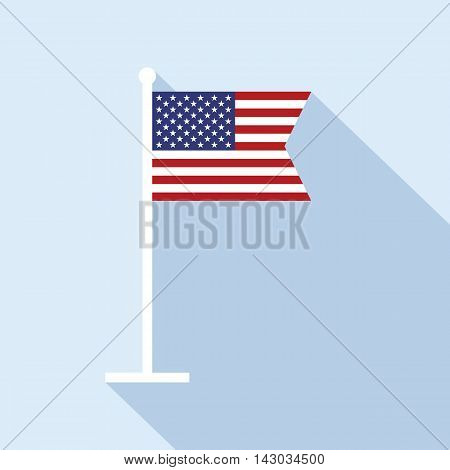 USA flag on flagpole vector flat icon. Vector icon of American flag in flat style with long shadow. Flat icon with national star-spangled banner. Vector illustration in EPS8 format.