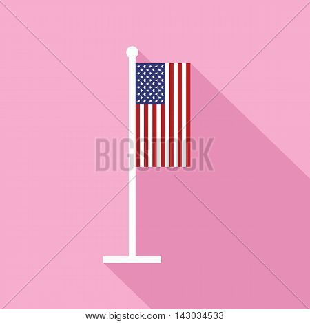 USA national flag on flagstaff vector flat icon. Vector icon of American flag in flat style with long shadow. Star-spangled banner in vertical position. Vector illustration in EPS8 format.