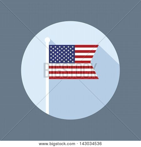 USA national flag on flagpole vector flat icon. Vector icon of American flag in flat style with long shadow. Flat icon with star-spangled banner in circle. Vector illustration in EPS8 format.