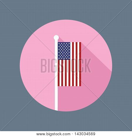 Vector flat icon of USA national flag in vertical position on flagpole. American flag in flat style with long shadow. Flat icon with star-spangled banner in circle. Vector illustration in EPS8 format.