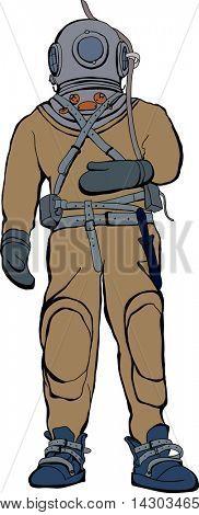 Vintage deep sea diver suit vector illustration