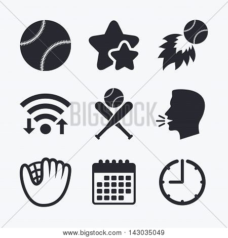 Baseball sport icons. Ball with glove and two crosswise bats signs. Fireball symbol. Wifi internet, favorite stars, calendar and clock. Talking head. Vector