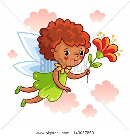 Cute dark-skinned fairy flying on the wings and keep a beautiful flower. Vector illustration of a fairy on a background of clouds. Picture in cartoon style.