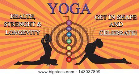 Yoga people training and meditating in warrior pose, Chakra pictograms on choku rei symbol and sunburst stripes , vector illustration