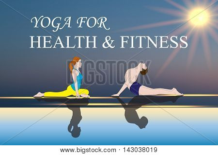 Yoga people training and meditating in warrior pose outside by beach at sunrise or sunset. Woman and man yoga exercising training in serene ocean landscape. Silhouette of couple against sun. Chakra pictograms on choku rei symbol , vector