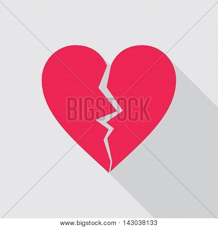 Red broken heart flat icon on gray background. Cracked heart symbol.Vector illustration in EPS8 format.