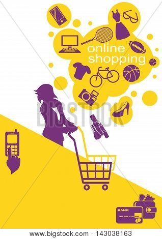 Internet Online Shopping. Young Woman Buys Goods in Online Store.