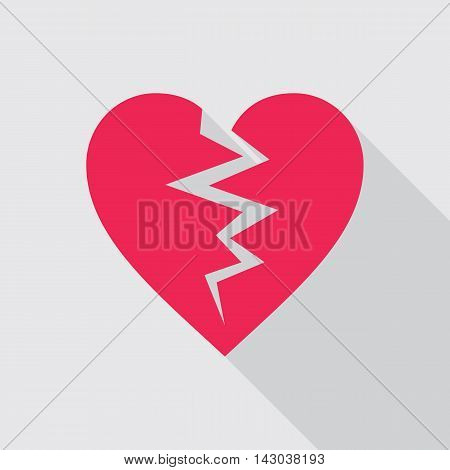 Red broken heart flat icon on gray background. Symbol of cracked heart. Vector illustration in EPS8 format.