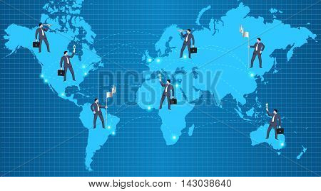Global business relations concept. Confident businessmen standing over all continent and over all major world cities connected together. Concept of teamwork global business and relationships.