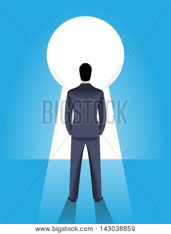 Looking through the keyhole business concept Confident businessman stands in front of keyhole. Bright light is coming from keyhole and draws deep shadow behind men. Career opportunity luck and choice