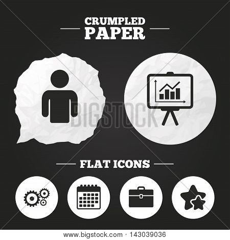 Crumpled paper speech bubble. Business icons. Human silhouette and presentation board with charts signs. Case and gear symbols. Paper button. Vector