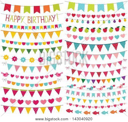 Colorful party bunting, isolated design elements set