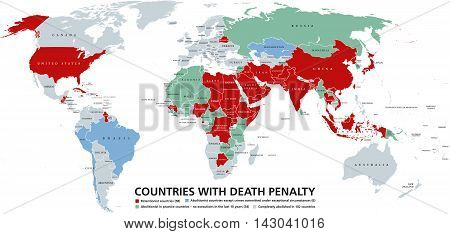 Death penalty countries world map. Retentionist states with capital punishment in red color. Abolitionist countries and nations where it is completely abolished in different colors. English labeling