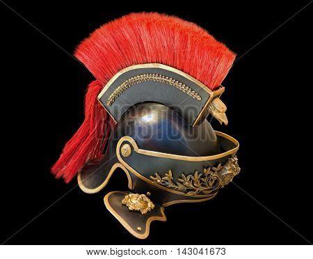 the Roman soldier helmet in black background