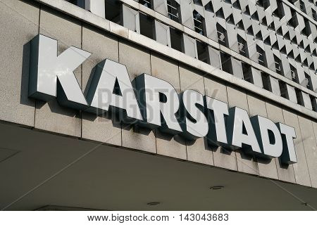 MAGDEBURG, GERMANY - August 13, 2016: Neon sign of a Karstadt branch in Magdeburg. The first Karstadt department was opened in 1881 in Wismar