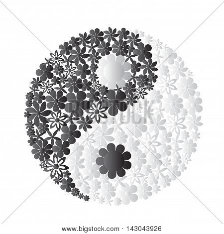 Yin Yang symbol consisted of flowers. Creative concept.