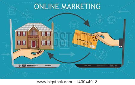 e-commerce concept ,online shopping marketing connection conceptual illustration vector