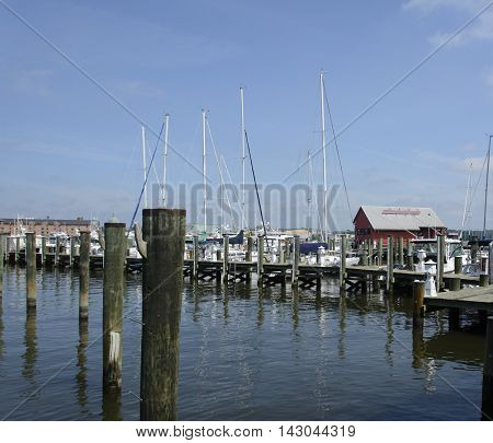 A marina along Carroll Creek in Annapolis Maryland, USA at mid-day in the summer.