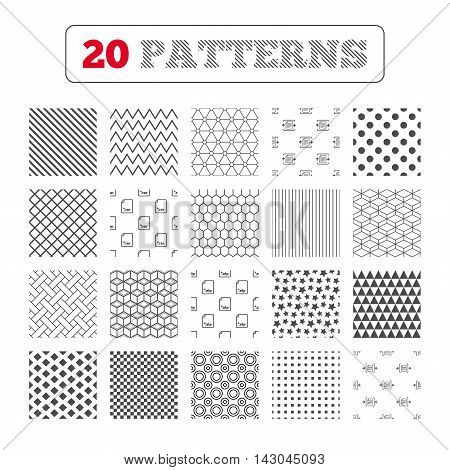 Ornament patterns, diagonal stripes and stars. Archive file icons. Compressed zipped document signs. Data compression symbols. Geometric textures. Vector