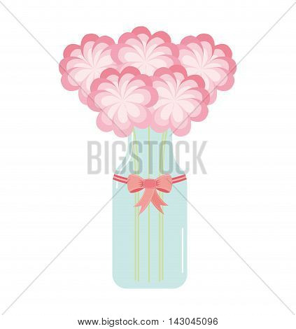 mason jar with flower deoration vector illustration design