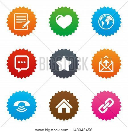 Mail, contact icons. Favorite, like and internet signs. E-mail, chat message and phone call symbols. Stars label button with flat icons. Vector