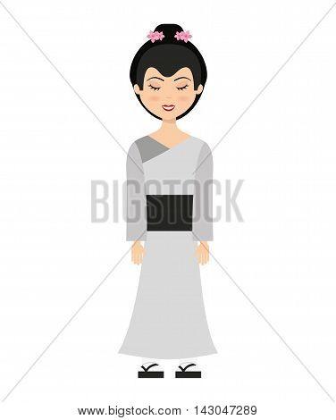 geisha japan girl isolated vector illustration design