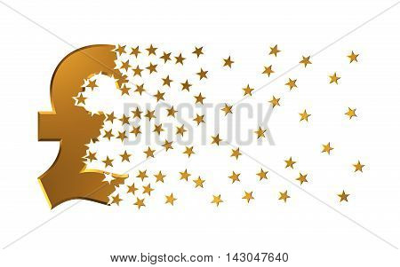 Pound Sterling Sign Falling Apart To Stars. 3D Illustration.