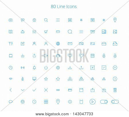 80 Trendy Thin Line Icons for web and mobile Set