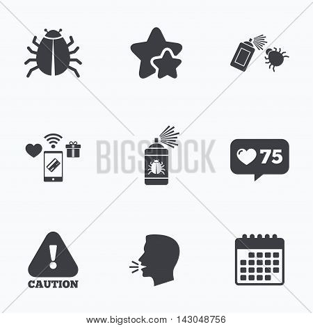 Bug disinfection icons. Caution attention symbol. Insect fumigation spray sign. Flat talking head, calendar icons. Stars, like counter icons. Vector poster