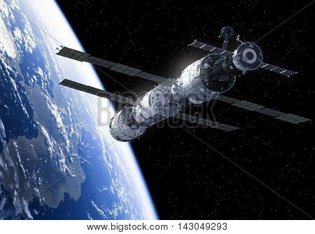International Space Station In Space. 3D Illustration.
