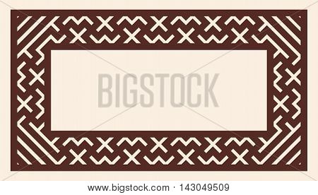 Vector Greek ornament. Greek style frame ornament. Brown pattern on a beige background.