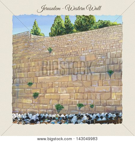 Western Wall, Prayer, People in Jerusalem, Israel. Jewish Holiday. Religion Traditions. Watercolor Illustration. Hand Drawn.
