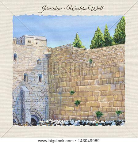 Western wall Jerusalem, prayer. David's city - old city of Jerusalem. Israel. Rosh Ha Shana. Digital Illustration. Hand Drawn. Kotel Watercolor. Slichot. Jewish Holiday Religion Tradition. Torah, Israel