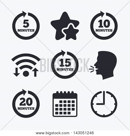 Every 5, 10, 15 and 20 minutes icons. Full rotation arrow symbols. Iterative process signs. Wifi internet, favorite stars, calendar and clock. Talking head. Vector