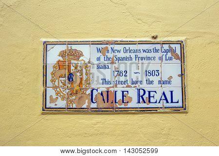 Historic Street Sign At A Wall
