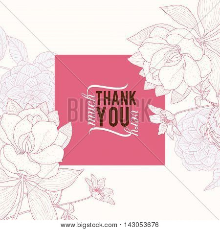 Vector Vintage Pink Square Frame Floral Drawing Wedding Invitation Thank You Card With Stylish Flowers and Text In Classic Retro Design. Perfect for invinations, packaging, announcements, menu, scrapbooking.