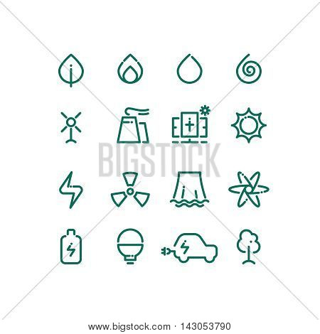 Set of energy sources line icons. Vector alternative energy pictograms. Design template